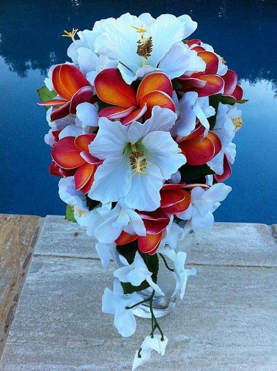 Wedding Theme White Hibiscus Teardrop Bouquet 2269691 Weddbook