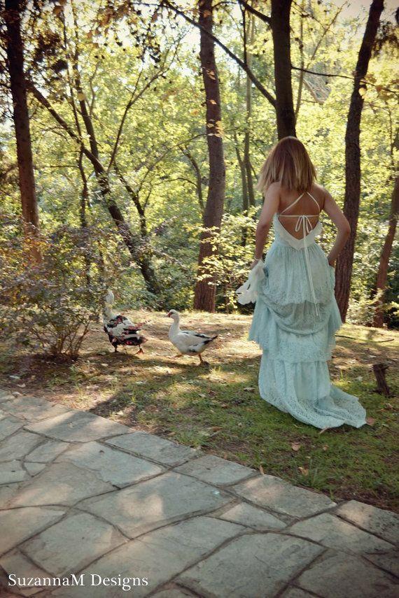 زفاف - Lace Bohemian Wedding Dress Boho Bridal Dress Long Wedding Gown Minty Pale Blue Wedding Dress - Handmade By SuzannaM Designs