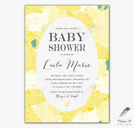 Yellow Baby Shower Invitation Printed Or Printable Daffodil Wedding Bridal Brunch Fl Whimsical Easter Sprinkle Sunny Spring 058