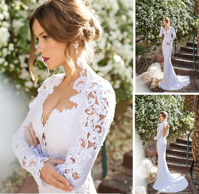 2015 new high neck long sleeve wedding dresses appliques