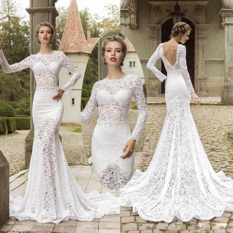 Amazing Long Sleeve Lace Mermaid Wedding Dresses Backless Sheer Neck Court Tr