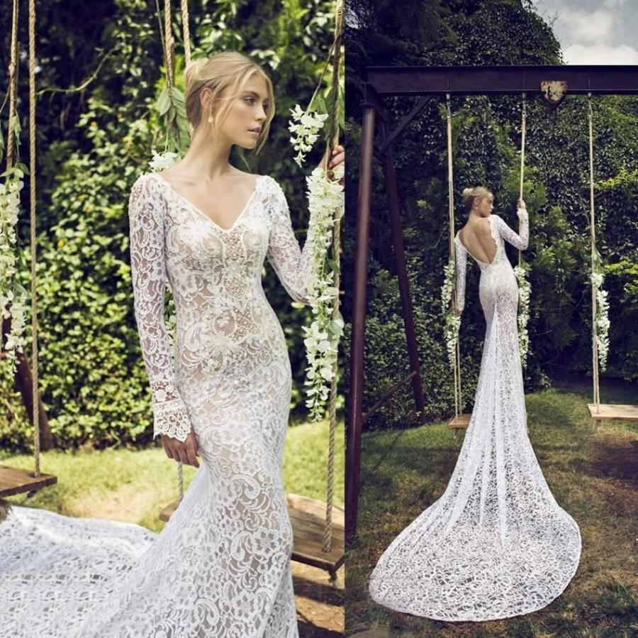 8839249a91 Fashion Long Sleeve 2015 Wedding Dresses Cheap Full Lace Bride Gowns V Neck  Custom Made Sexy Sheer Backless Chapel Train Plus Size Ruched Online with  ...