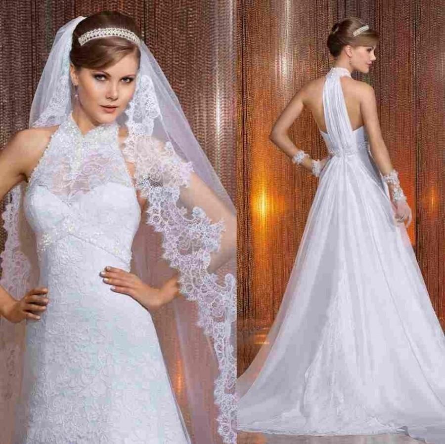 a line wedding dress veil hot sale lace wedding dresses high collar appliques free