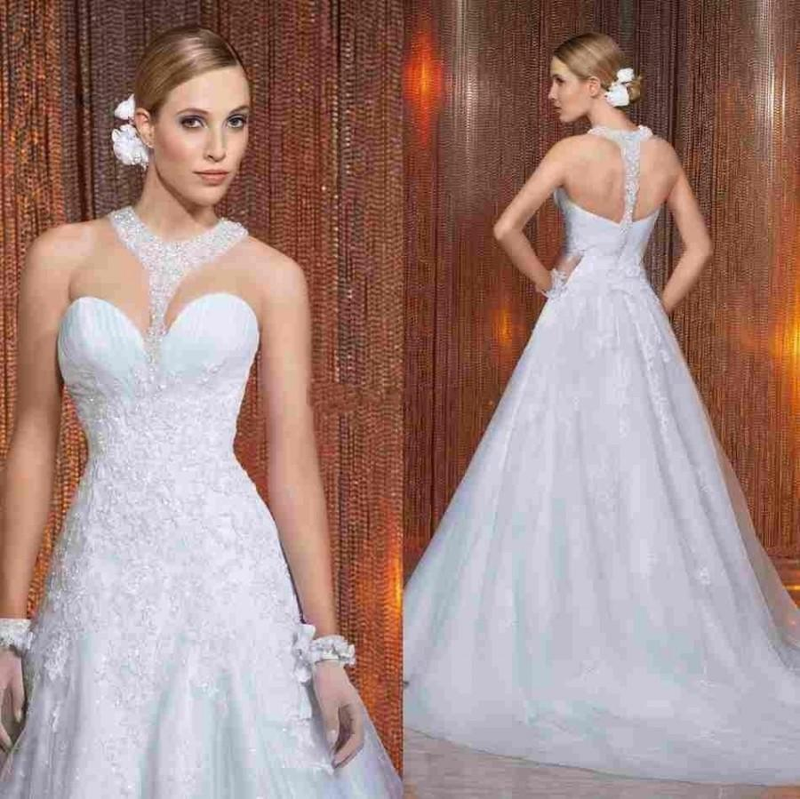 2015 High Quality A Line Wedding Dresses Sheer Jewel Neck Lace Appliques Bridal Gowns Court