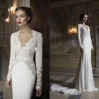 Wedding - Vintage A Line Wedding Dresses With Sleeves Garden Bridal Gowns Deep V Neck Appliques Lace Wedding Gowns Sweep Train Cheap Bride Dress Online with $130.62/Piece on Hjklp88's Store