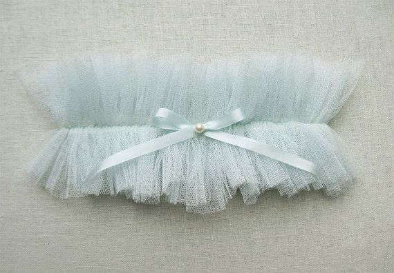 Wedding - Siren Blue Silk Garter
