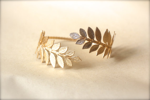 Mariage - Athena Arm Band, Greek Leaves Arm Cuff, Wrap Around Arm, Flexible Bracelet, Golden Leaves Bracelet, Bridal Jewellery, Bridesmaid, Goddess