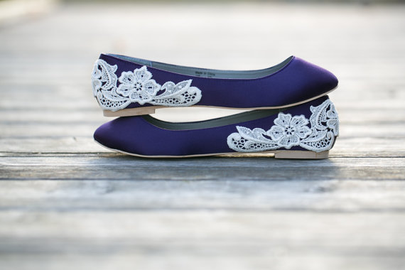 Mariage - Wedding Shoes - Purple Wedding Shoes/Purple Wedding Flats, Purple Flats, Purple Satin Flats, Purple Shoes with Ivory Lace. US Size 9
