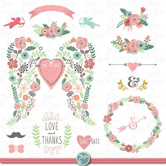 """Mariage - Wedding Clipart pack""""WEDDING FLORA WING""""clip art,Vintage Flowers,Floral Frame,Wreath,Wedding,Save the date,invitation,Instant Download Wd101"""