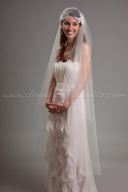 Свадьба - Juliet Cap Veil, Lace Cap with Detachable Veil, 2 Piece Bridal Veil Set, Lace Wedding Veil - Angelena