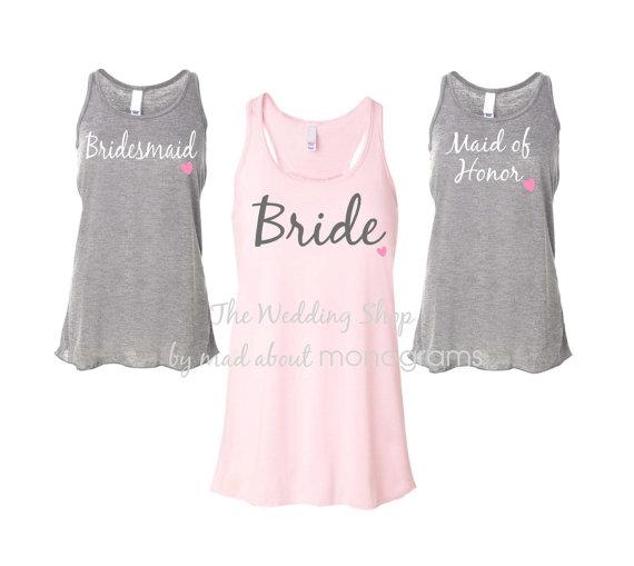Mariage - 12 Bridal Party Flowy Racerback Tank Tops, Bride Shirt, Bridesmaid Shirts, Bachelorette Party Tank Tops, Maid of Honor Shirt - Set of Twelve