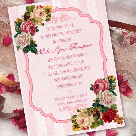 Wedding - Victorian bridal shower, classic pink Victorian invitation, IN262