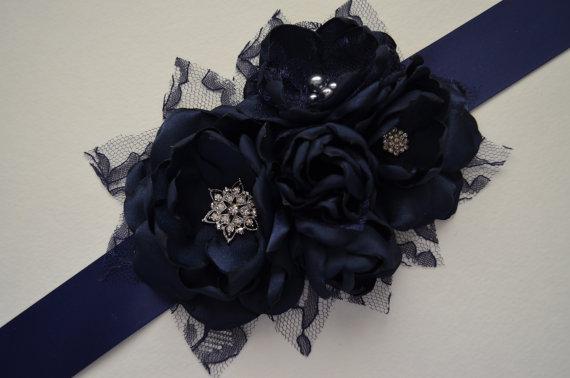 Wedding - Five Flower Sash - Navy Blue - Vintage Style Sash, Bridesmaid Sash, Fabric Flower Sash, Bridal Sash, Navy Sash, Solid Navy Flower Sash