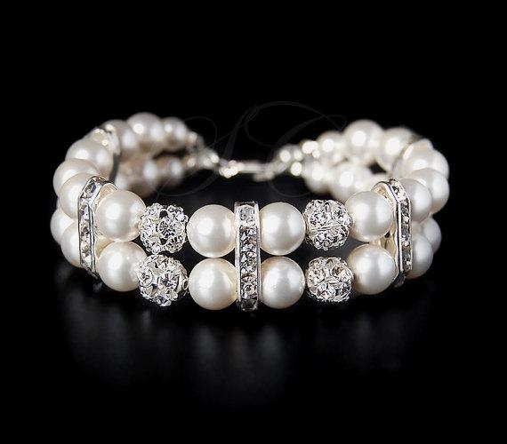 Свадьба - Bridal Pearl Bracelet Cuff Two Strand Wedding Jewelry Swarovski Pearl Cubic Zirconia Vintage