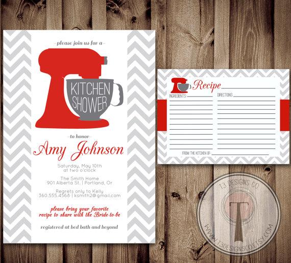 Свадьба - Kitchen Shower Invitation and Recipe Card, Kitchen shower, bridal shower, wedding showering, invitation, invite, recipe card
