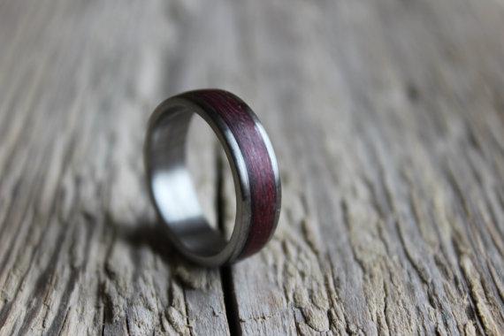 Wedding - Titanium Ring, Mens Titanium Wedding Band, Titanium Engagement Ring, Titanium Wood Ring
