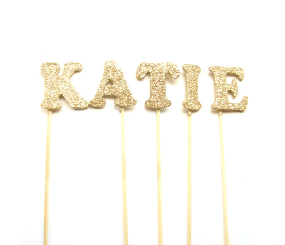 Свадьба - Custom Name Glittered Cake Topper - Cake Bunting, birthday, wedding cake topper, gold birthday cake topper, custom name cake topper