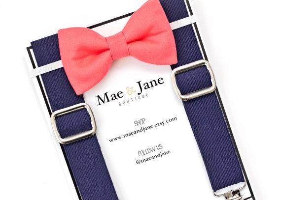 Свадьба - Boys Bow Tie and Suspenders SET! Coral boys bow tie with Navy Blue suspender, wedding bow tie suspenders set