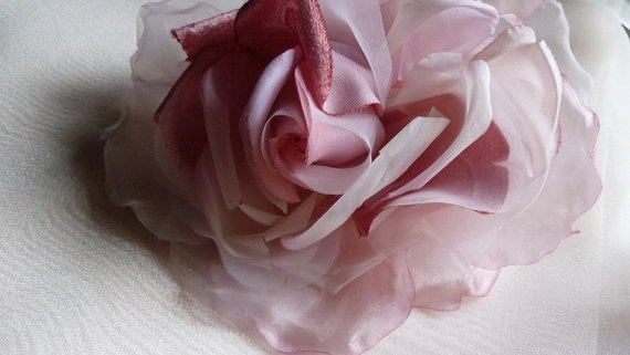 Mariage - SALE Silk and Organza Rose in Rose Pink for Bridal, Bouquets, Hats MF 137 -  5289