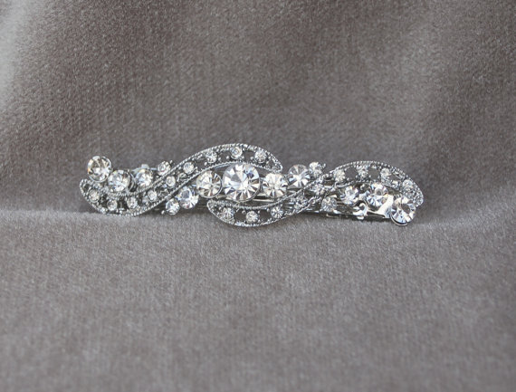 Свадьба - Rhinestonel Hair Clip / Bridal Hair Clip / Special Occasion Hair Clip / Bridesmaid Barrette