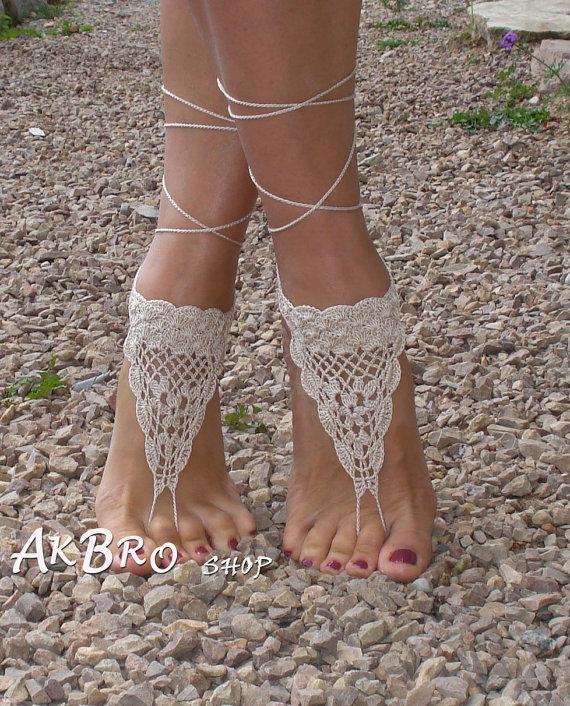 Свадьба - Crochet Barefoot Sandals, Tan Barefoot sandles,Beach Pool,Nude shoes,Foot jewelry