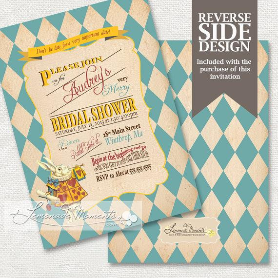 Alice in wonderland bridal shower invitation mad hatter tea party alice in wonderland bridal shower invitation mad hatter tea party printable teal filmwisefo