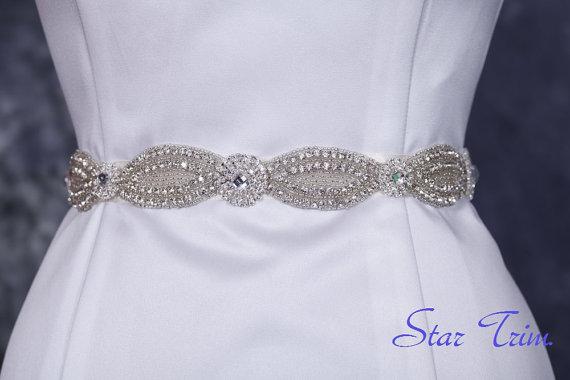 Wedding - Demi rhinestone seed beaded wedding bridal sash, belt