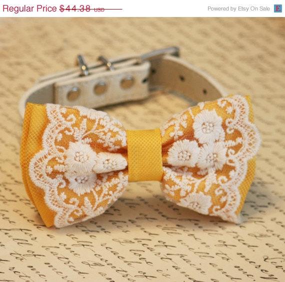 Свадьба - Yellow Dog Bow Tie, Spring wedding, Vintage Wedding, Pet wedding accessory,Wedding accessory, boho wedding, Victorian wedding