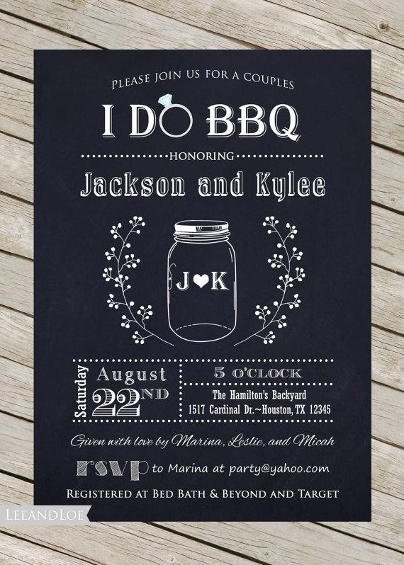 Свадьба - Couples or Coed Bridal Shower Printable Invitation-I Do BBQ, Chalkboard, Mason Jar, Wedding
