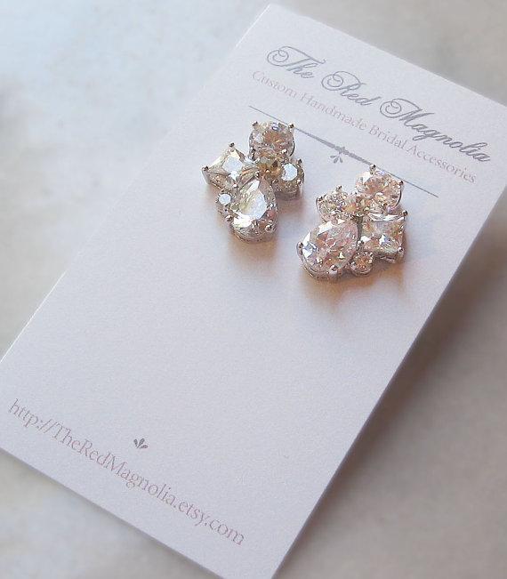 Mariage - Crystal Rhinestone Earrings, Bridal Earrings, Studs, Wedding Jewelry, Bridesmaid Earrings - KATIE