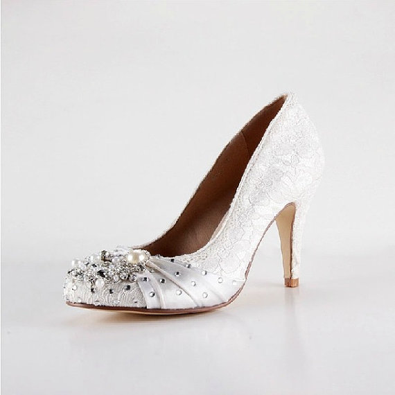 Mariage - 2014 White lace pearl shoes, handmade lace bridal shoes, Lace pearl wedding shoes,pearl bridal shoes in handmade