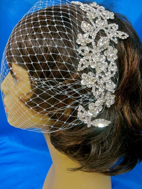 Mariage - Bandeau Birdcage Veil, Wedding Blusher Veil, Rhinestone Pearl Veil