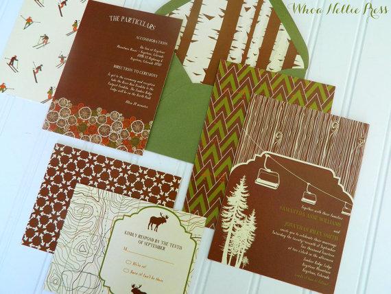 Свадьба - Rustic Ski Wedding Invitations-Aspen/Mountain/Chairlift or Gondola
