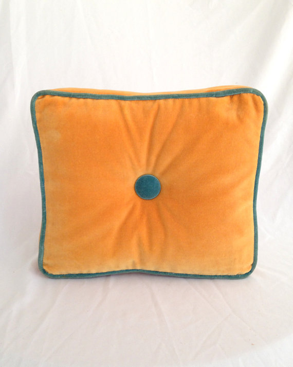 Mariage - Vintage Velvet Pillow Square Gold With Greenish Blue Trim - Button Decorative Accent or Ring Bearer Pillow