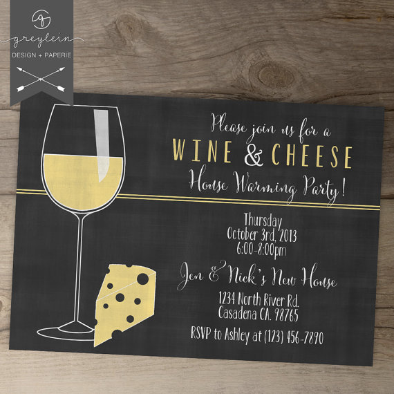 Wedding - Wine and Cheese Invitations / House warming chalkboard Invites /  Dinner Party Invites  / DIY Printable / Girls Night Out
