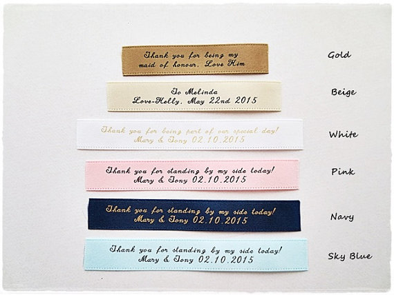 Mariage - Personalized satin label custom name personalized label fabric label clutch purse label wedding message label