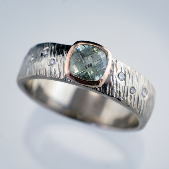 Свадьба - Fair Trade Green Cushion Sapphire 14k Rose Gold Bezel Engagement Ring Diamond Accented Textured Silver/Palladium, palladium, white gold Band