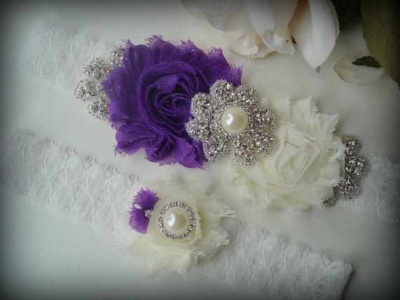 زفاف - SALE Wedding Garter Set, Ivory Garter, Rhinestone garter,Vintage Inspired Garter Set, Purple Garter Set