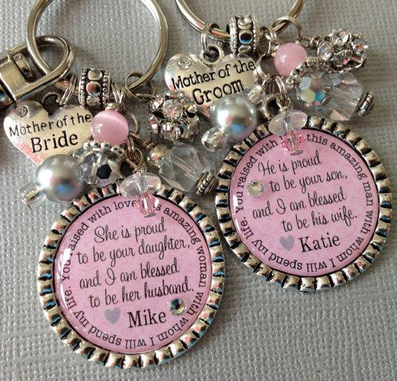 Свадьба - Mother of the BRIDE gift / MOTHER of the GROOM Set- Personalized wedding jewelry - proud to be son, blessed wife, thank you gift