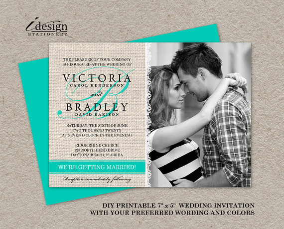 Mariage - DIY Printable Rustic Turquoise Wedding Invitations, Photo Invitation With Burlap And Lace