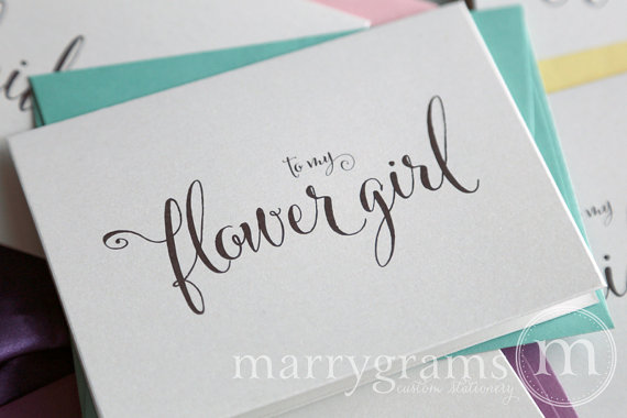 Mariage - Thank You Cards for Bridesmaid, Maid of Honor, Groomsman, Flower Girl, To My Wedding Party Thank You Cards Bridal - CS07 (Set of 4)