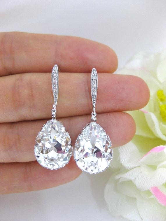 Mariage - Swarovski Clear White Crystal Teardrop Earrings Wedding Jewelry Bridesmaid Gift Bridal Earrings Bridesmaid Earrings Dangle Earrings (E122)