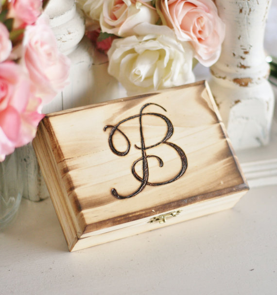 Mariage - Rustic Ring Bearer Pillow Engraved Wood Box With Monogram Morgann Hill Designs