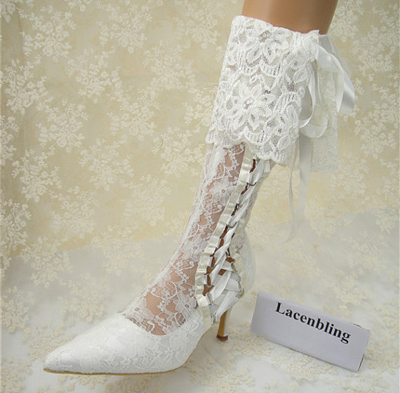 Wedding Shoes Vintage Lace Bridal Boots Fl For Party Prom
