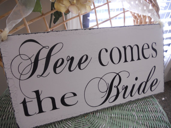 Wedding - Wedding Signs,REVERSIBLE Personaized with established date and Here comes the Bride..Ring Bearer Signs,Flower girl sign,photo prop sign:)
