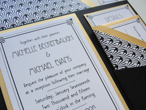 Pocket Fold Wedding Invitations Set / \