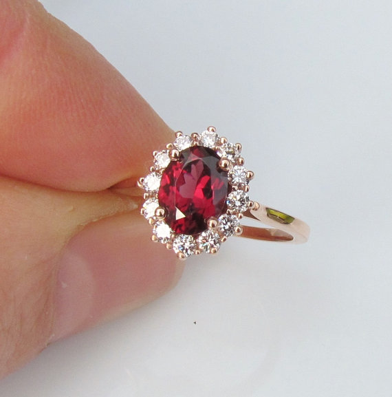 Wedding - Appraisal for 14k Rose Gold Diamond Cluster Red Spinel Gemstone Engagement Ring Ruby Alternative Weddings