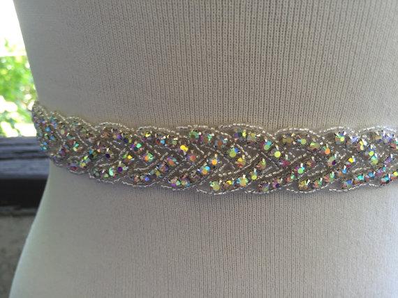 Mariage - Aurora AB Rhinestone Wedding Sash,Color AB Crystal Bridal Belt,Iridescent Rhinestone