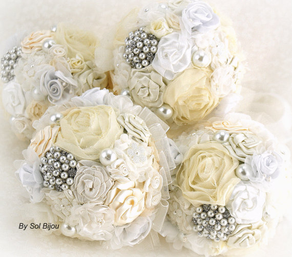 Bridesmaids Brooch Bouquets Wedding Bouquet S In Ivory Silver White And Cream Set Of 4