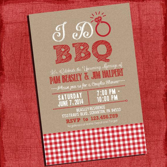 "Mariage - Printable ""I Do"" BBQ Barbecue Couples/Coed Wedding Shower or Engagement party Invitation with Gingham and Kraft Background paper"